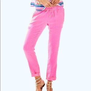 Lilly Pulitzer Aden Pant Linen Pants Pink Medium